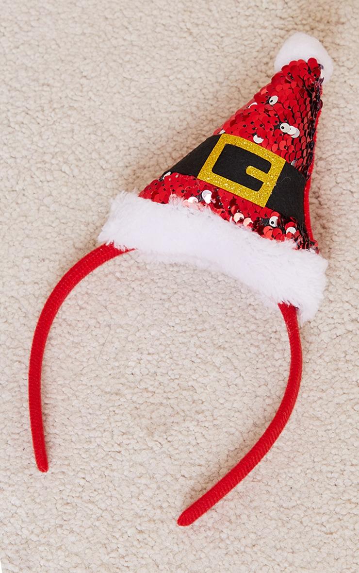 Red Sequin Santa Hat Headband 2