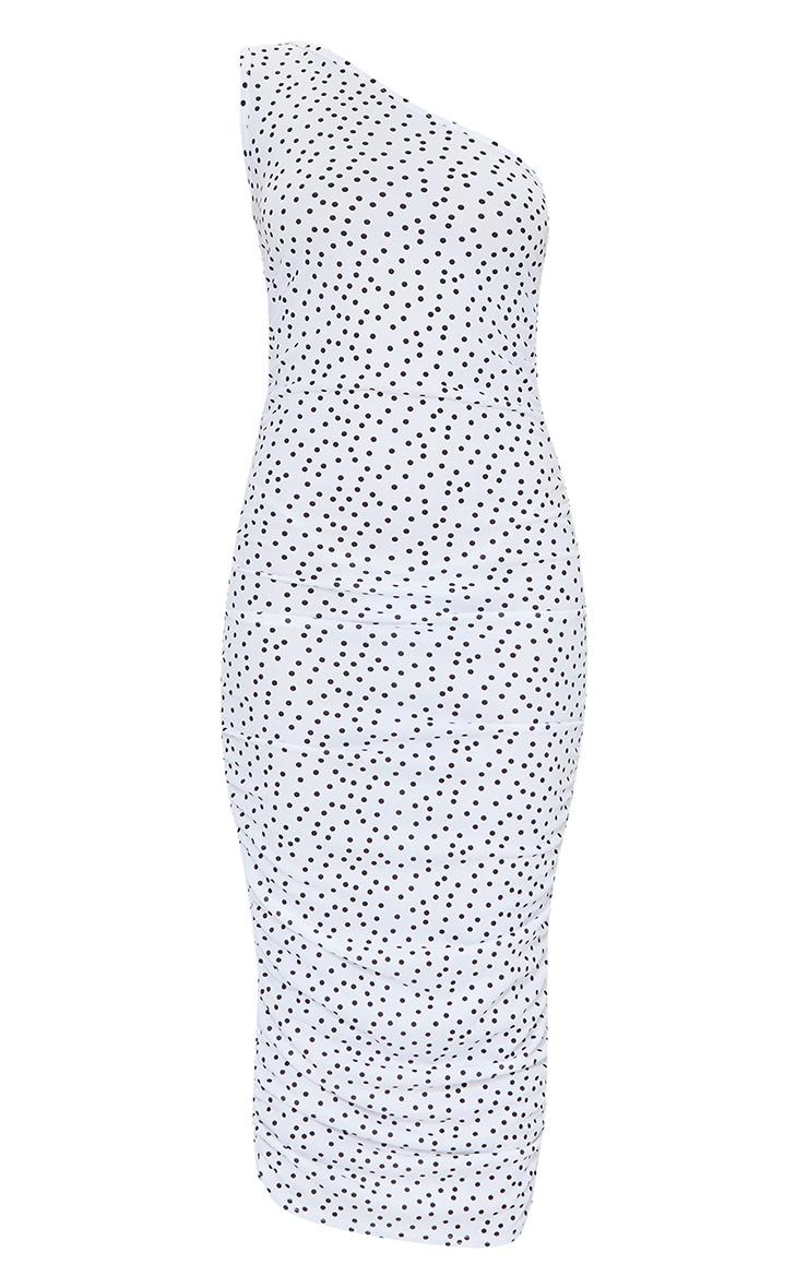 White Polka Dot One Shoulder Ruched Midi Dress 5