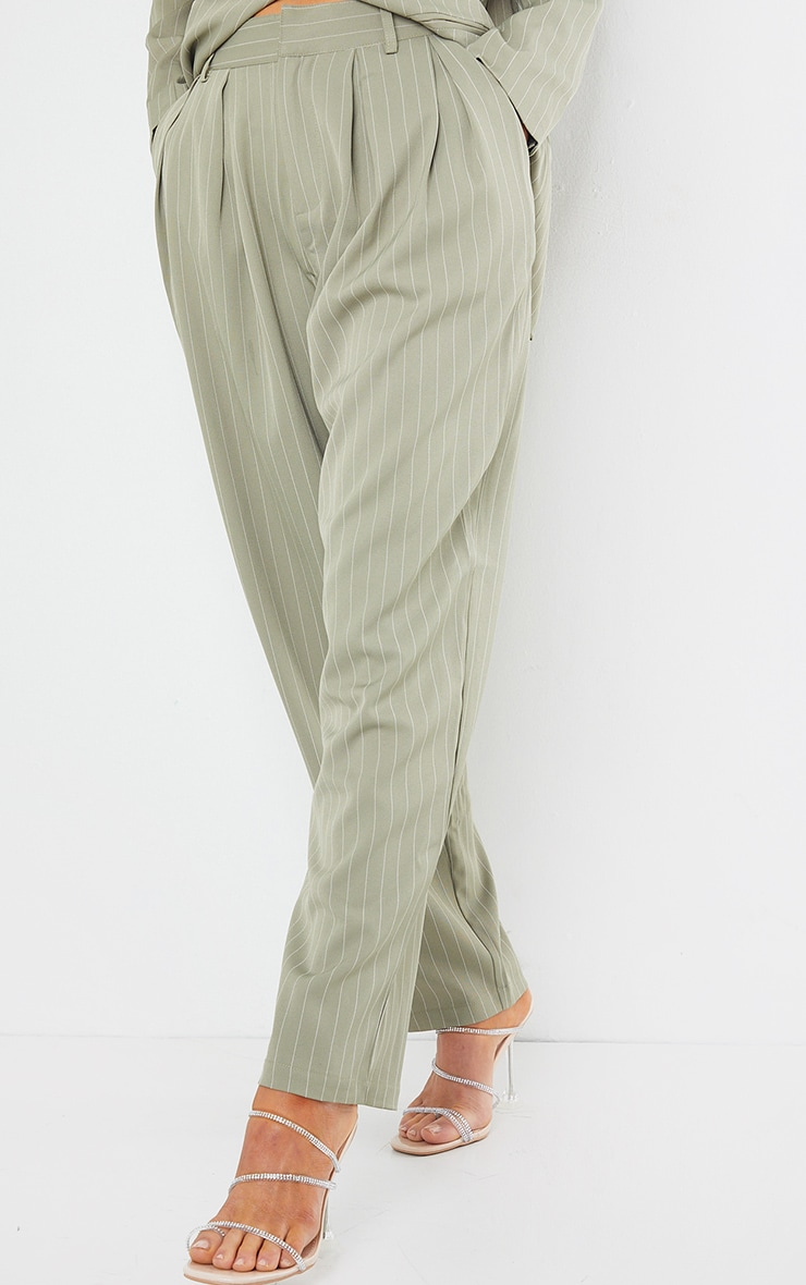 Sage Green Pinstripe Woven High Waisted Cigarette Pants 2