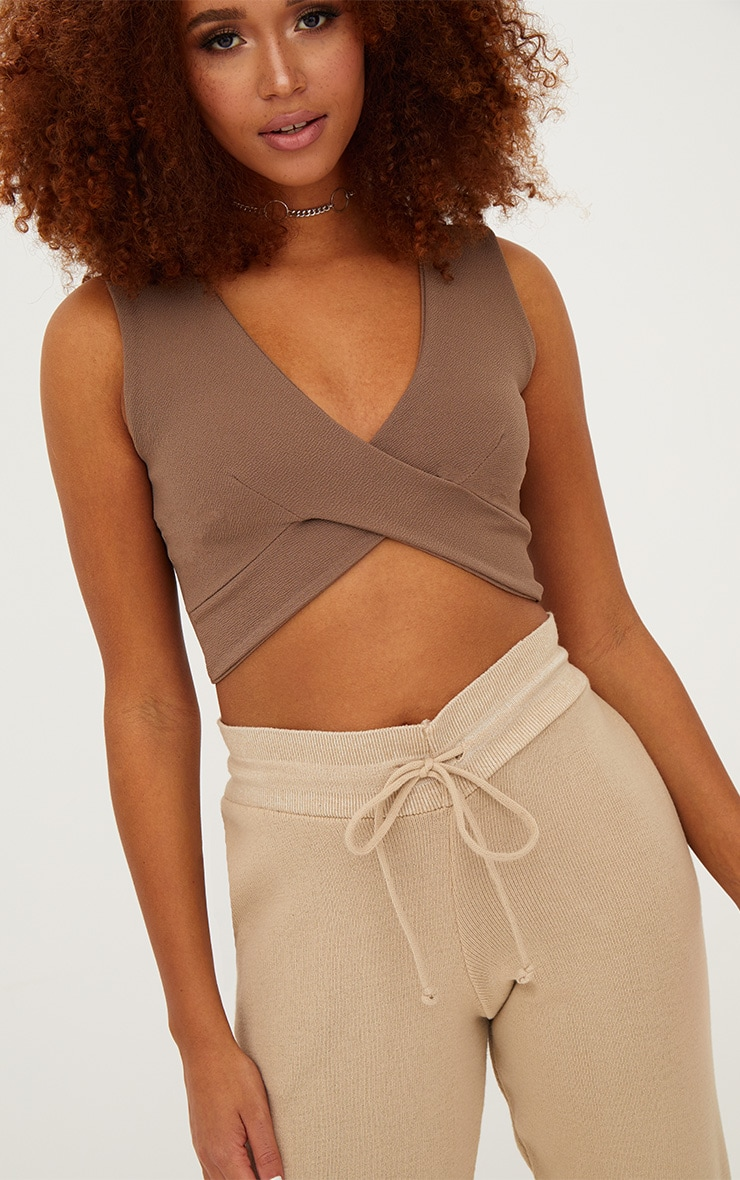 Stone Crepe Cross Front Sleeveless Crop Top 5