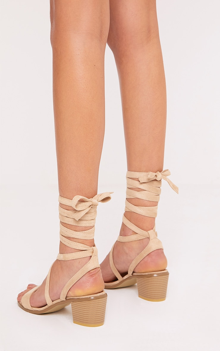 Kallia Cream Suede Lace Up Heeled Sandals 4