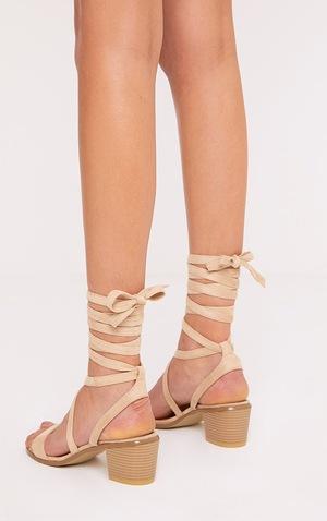 Kallia Cream Suede Lace Up Heeled Sandals