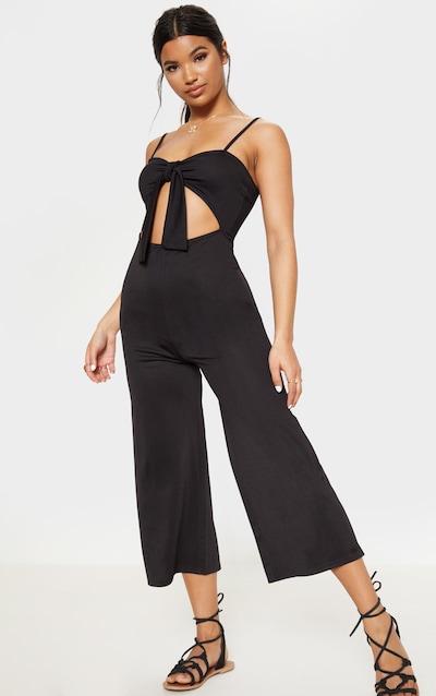 8b54823d30d Black Tie Front Culotte Jumpsuit