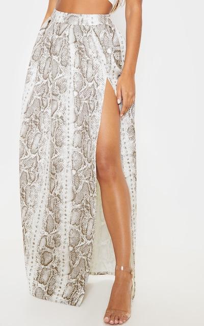 Grey Snake Print Scuba Maxi Skirt