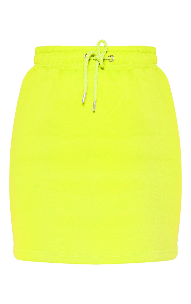 Neon Lime Sweat Drawstring Waist Mini Skirt 3