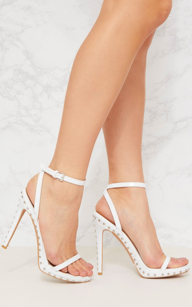 White Studded Detail Strappy Sandal 1