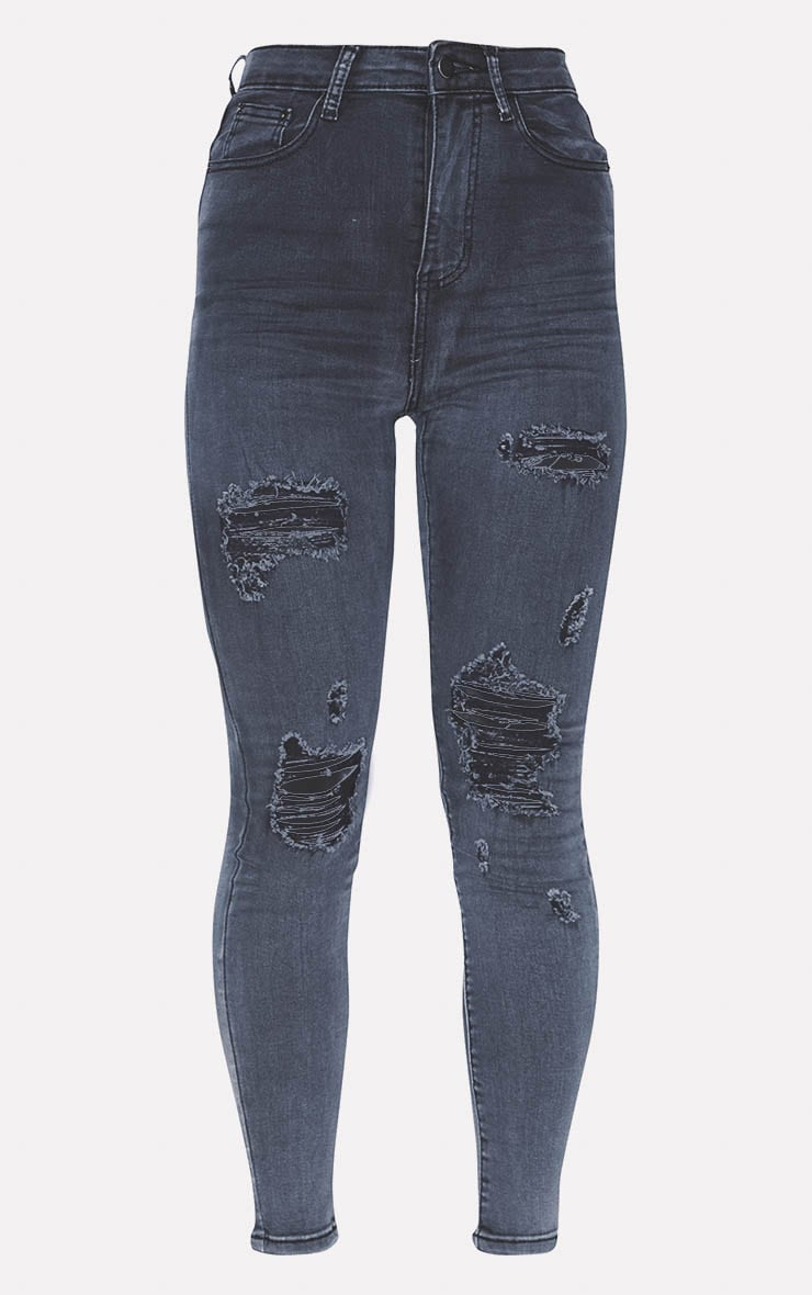 PRETTYLITTLETHING Washed Black Distressed 5 Pocket Skinny Jean 3