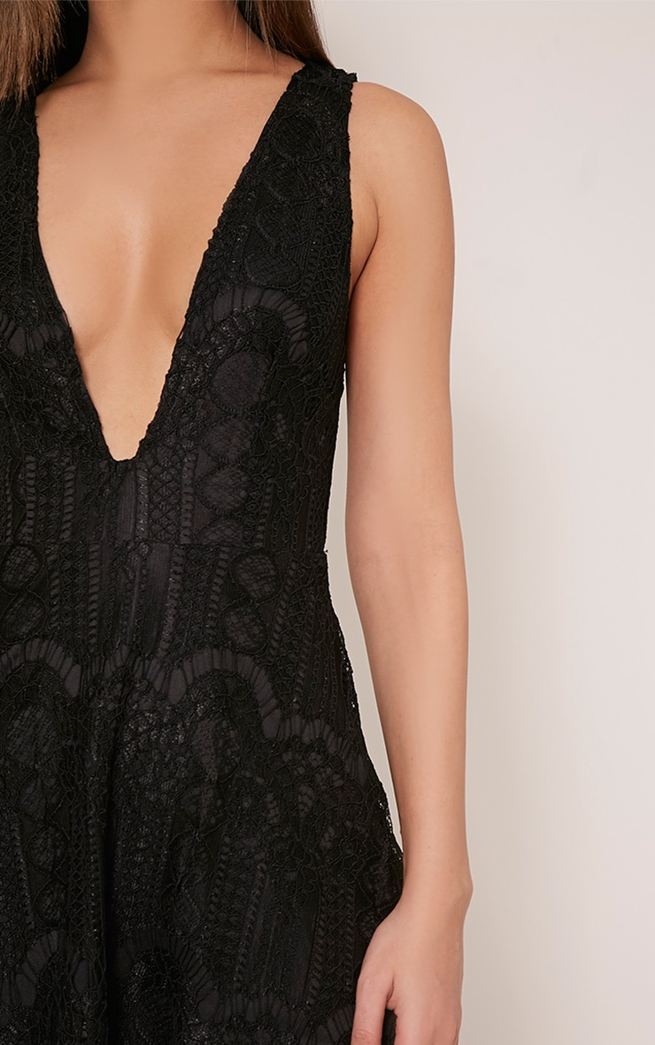 Erlisa Black Plunge Lace Skater Dress 6