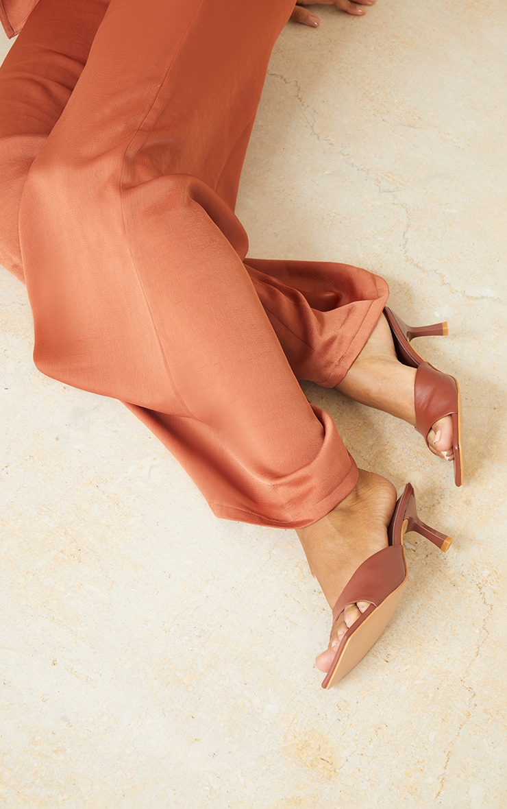 Chocolate Square Toe Low Heeled Mules 2