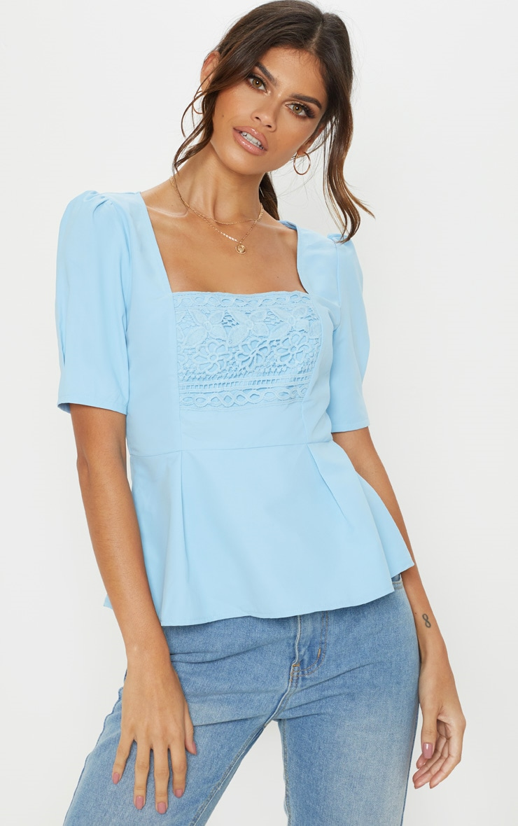 Pale Blue Crochet Detail Short Sleeve Top 1