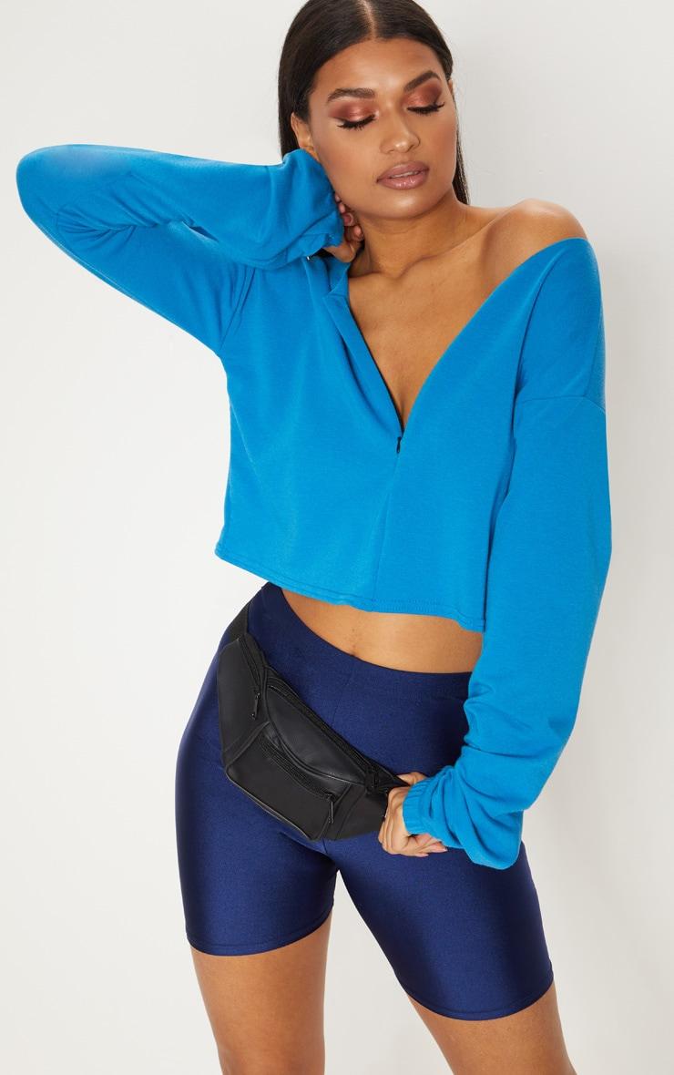 Blue Zip Front Sweater 4
