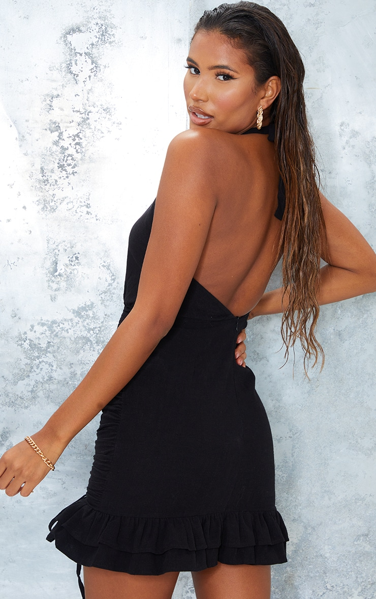 Black Linen Look Halterneck Ruched Skirt Bodycon Dress 2