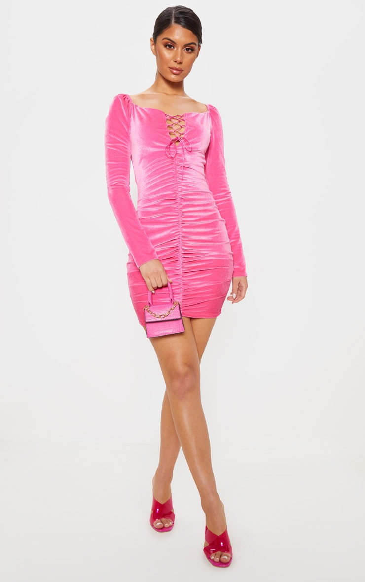 Neon Pink Square Neck Ruched Lace Up Velvet Bodycon Dress 4