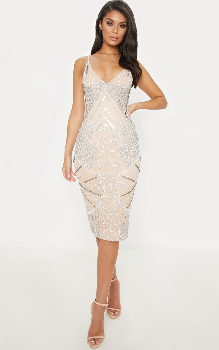 Nude embellished dress Nude Photos 47