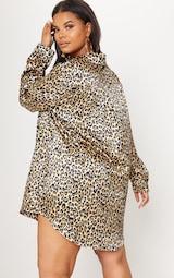 Plus Tan Leopard Print Satin Button Front Shirt Dress image 2 e504557a4