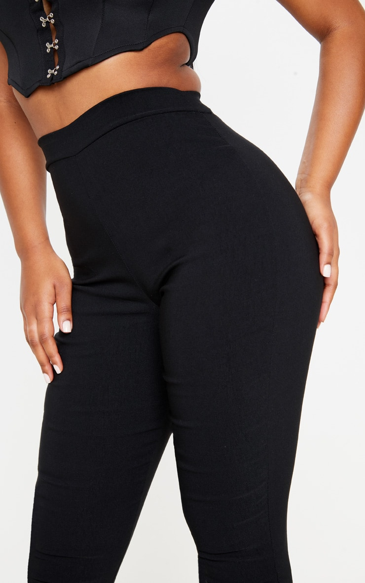 Black High Waisted Woven Stretch Legging 5