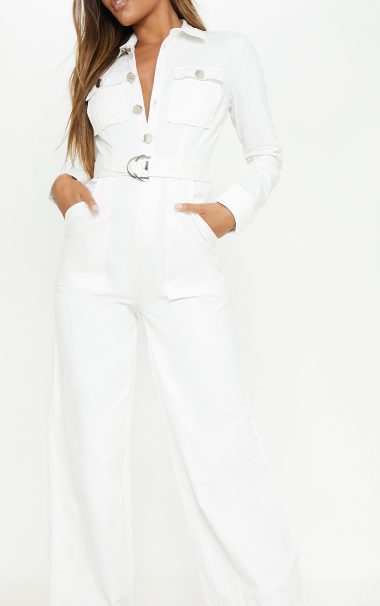 White Pocket Detail Wide Leg Utility Jumpsuit  5