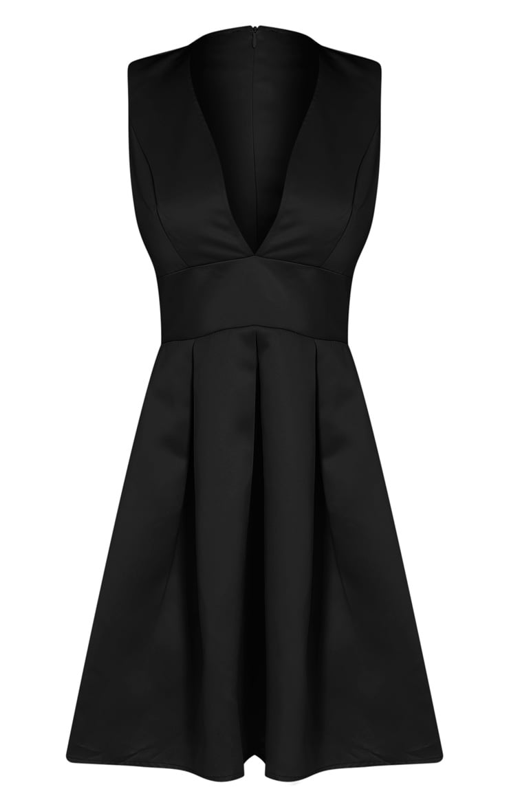 Vienna Black Plunge Satin Skater Dress 3