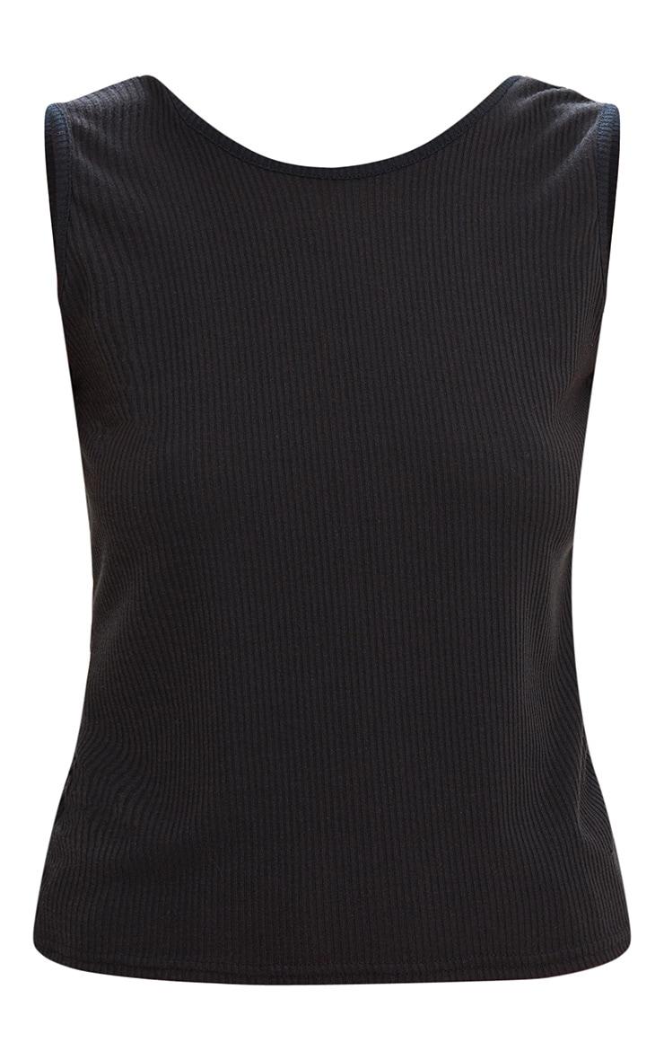 Black Ribbed Twist Back Vest Top 3