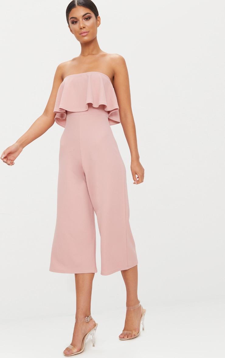 Combinaison jupe-culotte bardot double épaisseur vieux rose 1
