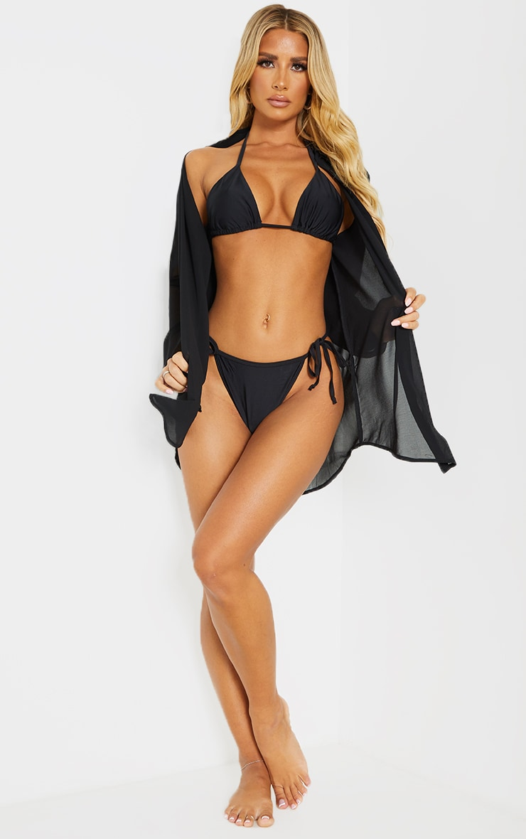 Black Mix & Match Recycled Fabric Tie Side  Bikini Bottoms 3