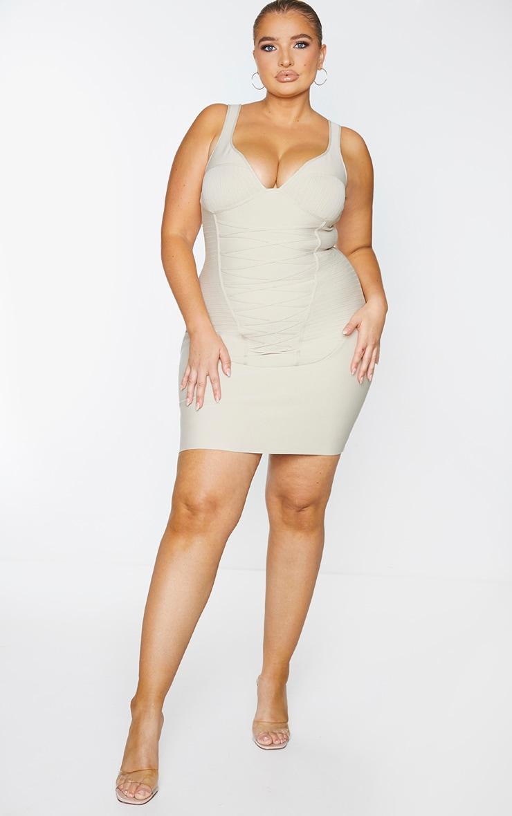 Plus Nude Bandage Corset Bodycon Dress 1
