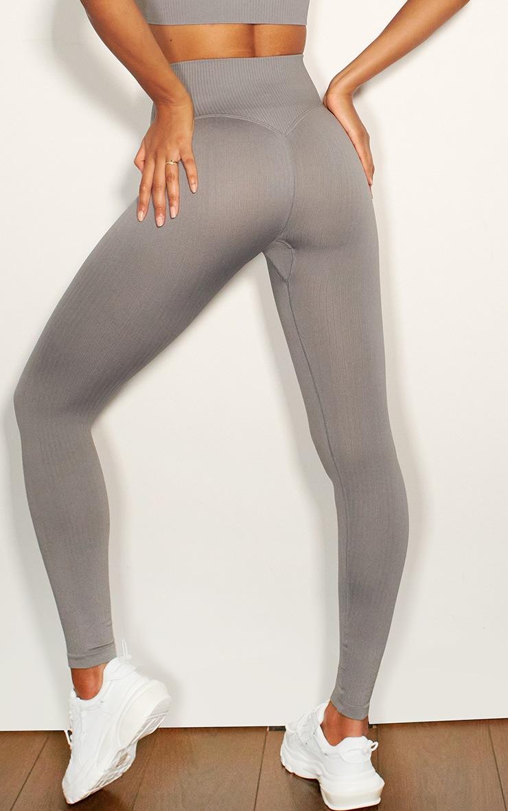 Grey Ribbed Seamless Sports Legging 3