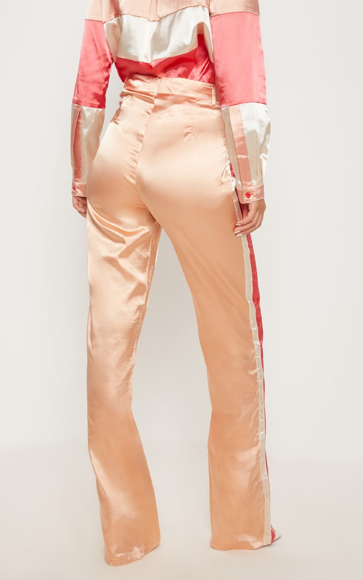 Peach Satin Contrast Stripe Wide Leg Trouser 4