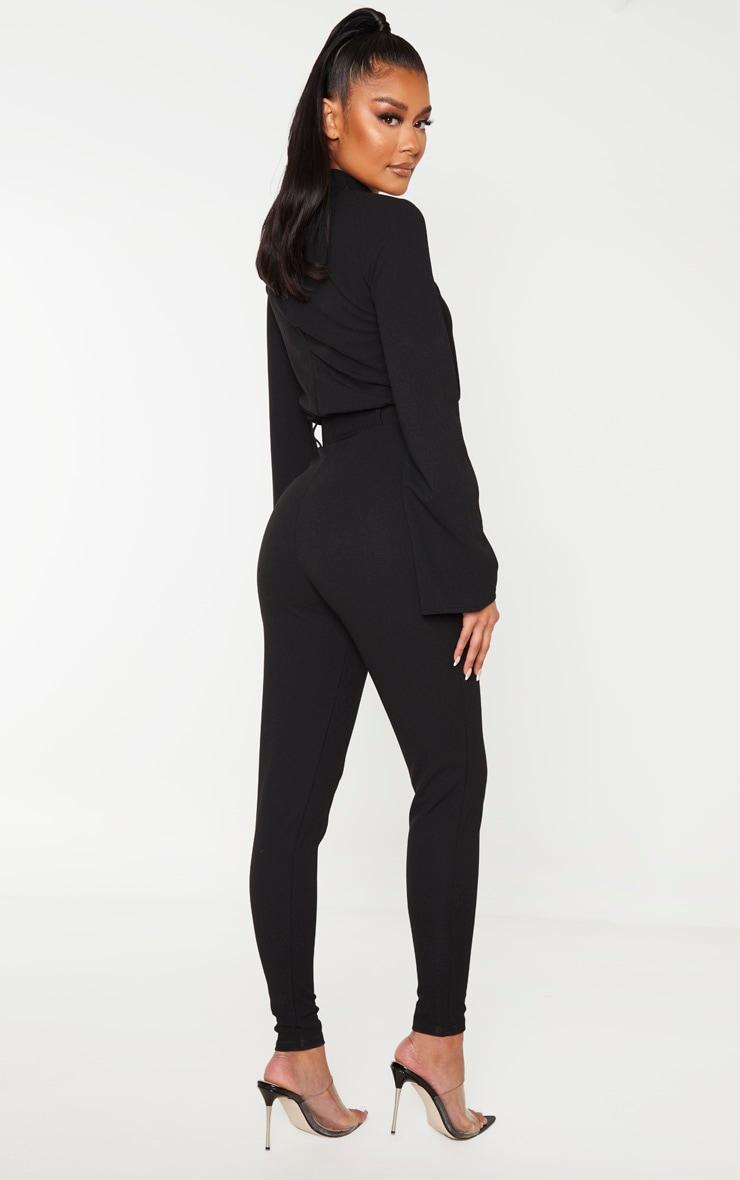 Black Belt Detail High Neck Long Sleeve Jumpsuit 2