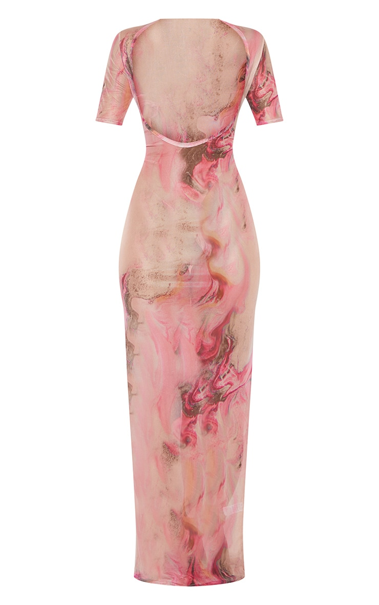 Pink Acid Print Short Sleeve Scoop Mesh Maxi Beach Dress 3
