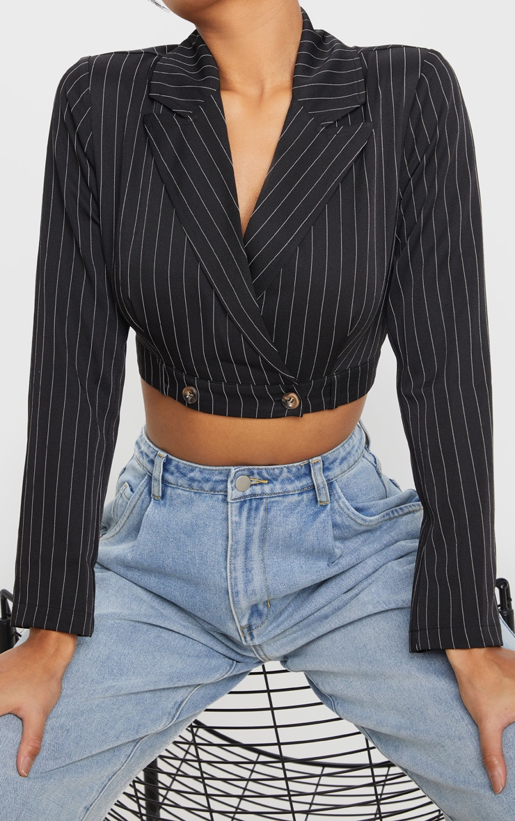Black Button Front Crop Shirt 5