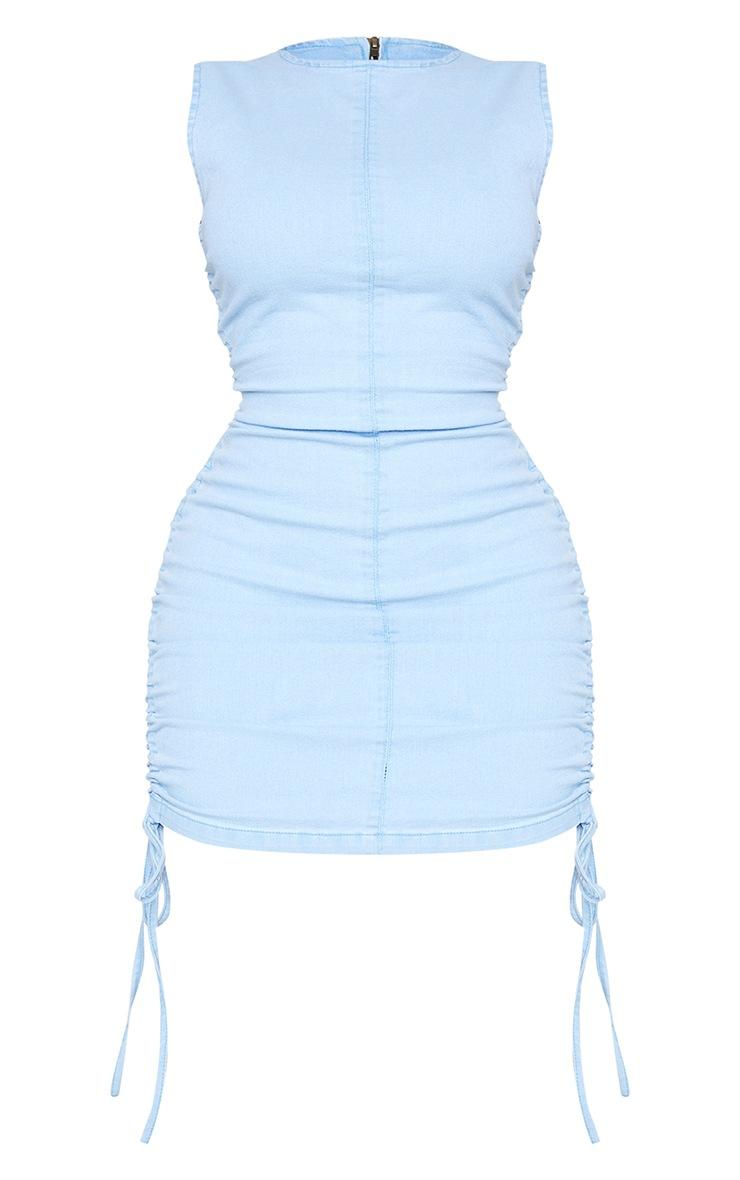 Shape Light Blue Wash Denim Ruched Side Sleeveless Bodycon Dress 5