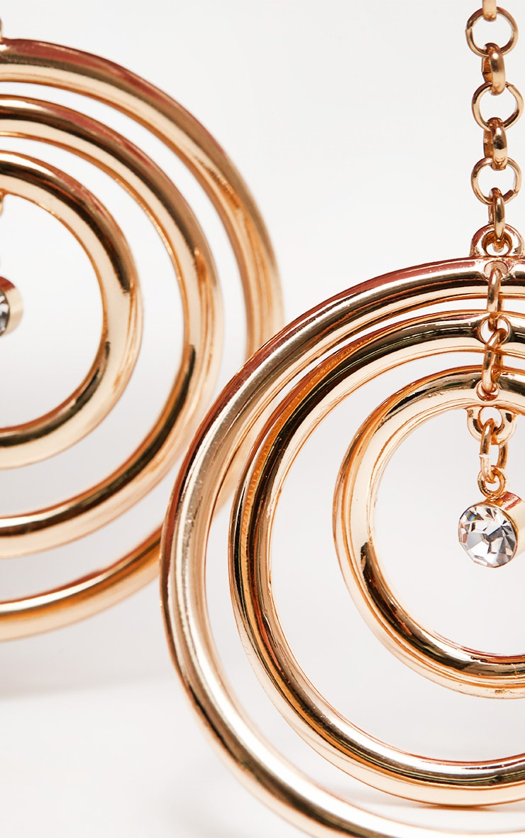 Gold Diamante Circle Drop Earrings 3