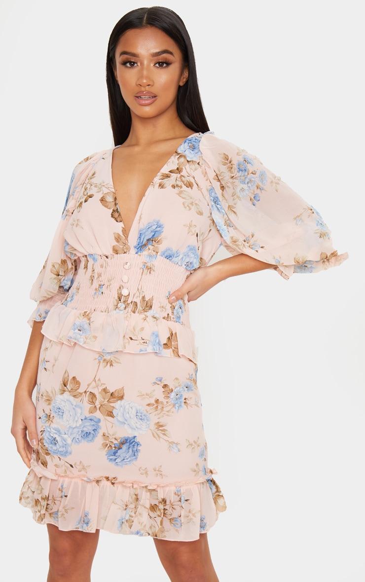 Petite Blush Floral Button Detail Puff Sleeve Chiffon Dress 1