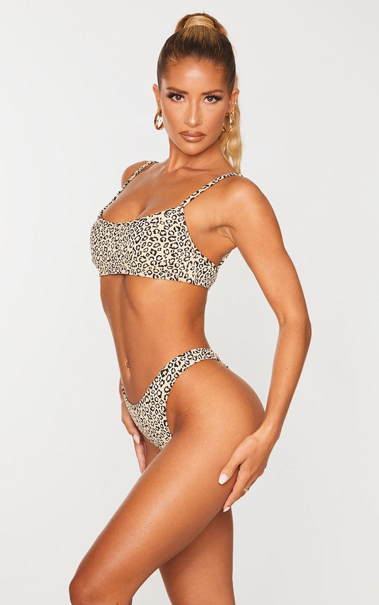 Stone Leopard Texture Thong Bikini Bottoms 2