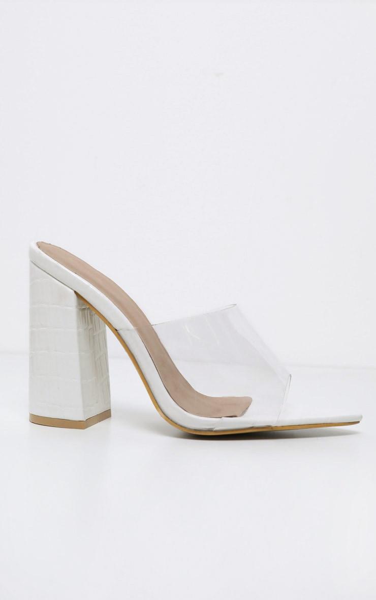 White Block Heel Point Toe Mule 3