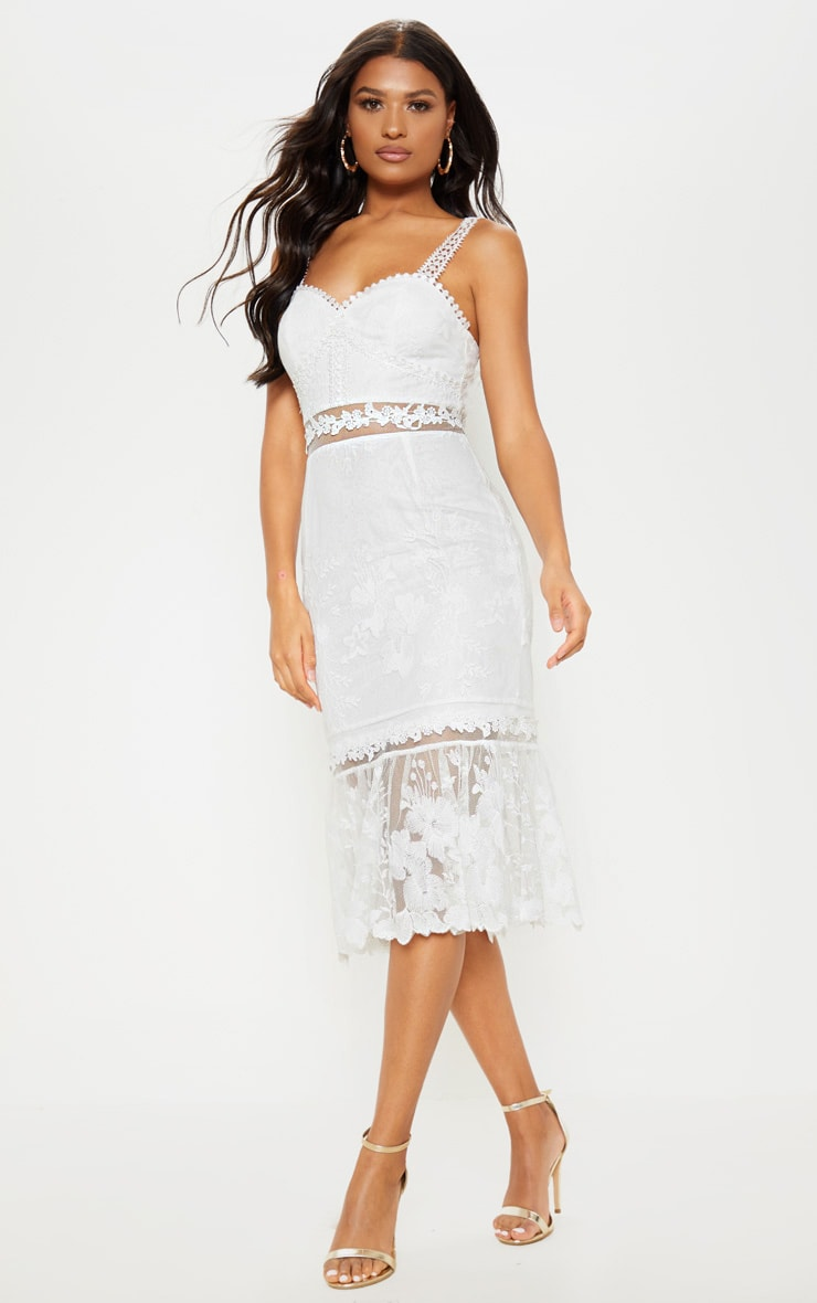 White Mixed Lace Midi Dress 1