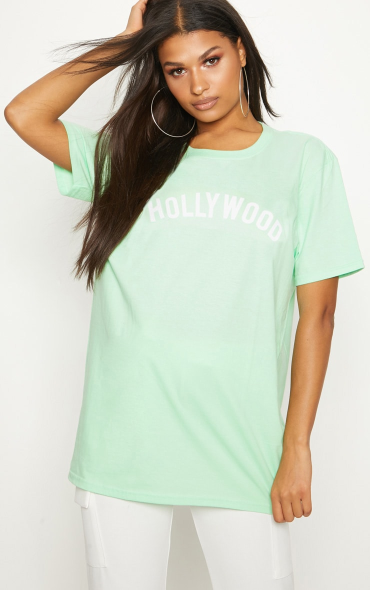 PRETTYLITTLETHING Mint Hollywood Slogan Oversized T Shirt Cheap Sale Pick A Best Limited New Wholesale Online Fast Shipping Fashionable JhODx7vUJ