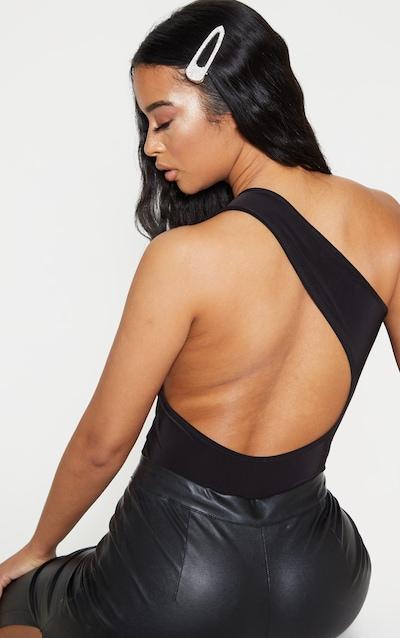 Black Backless Cut Out Slinky Bodysuit