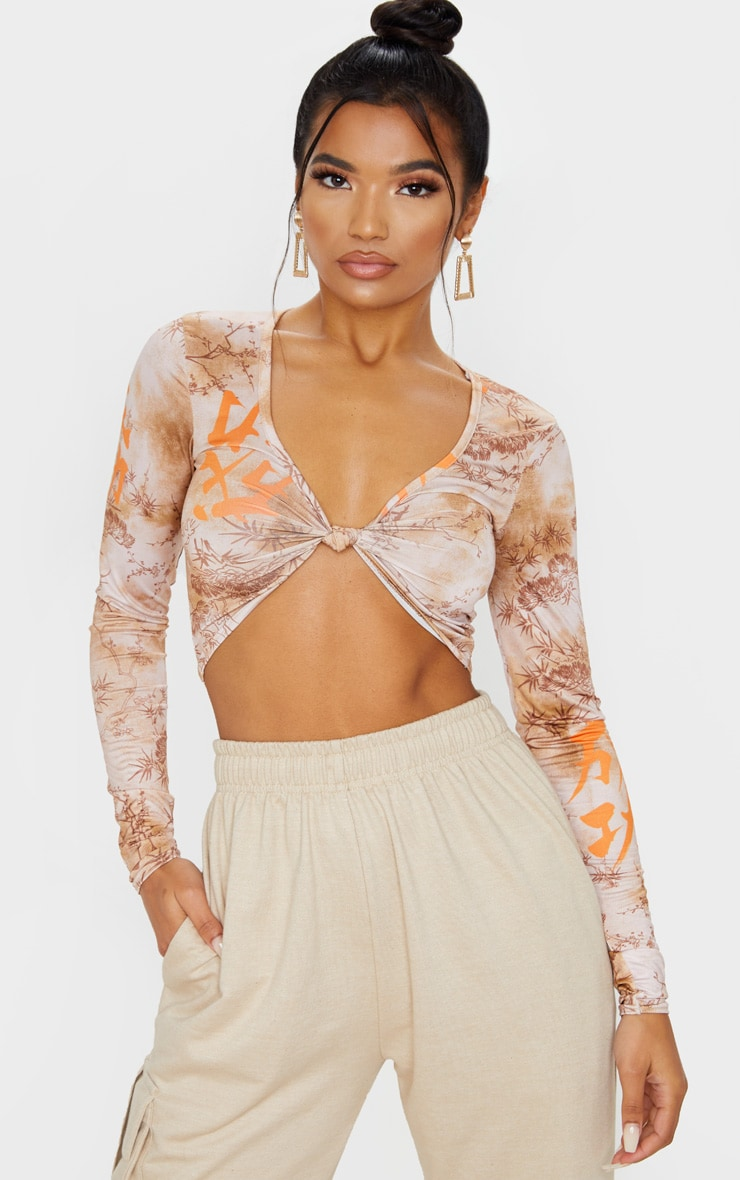 Orange Tie Dye Printed Twist Front Long Sleeve Crop Top 1