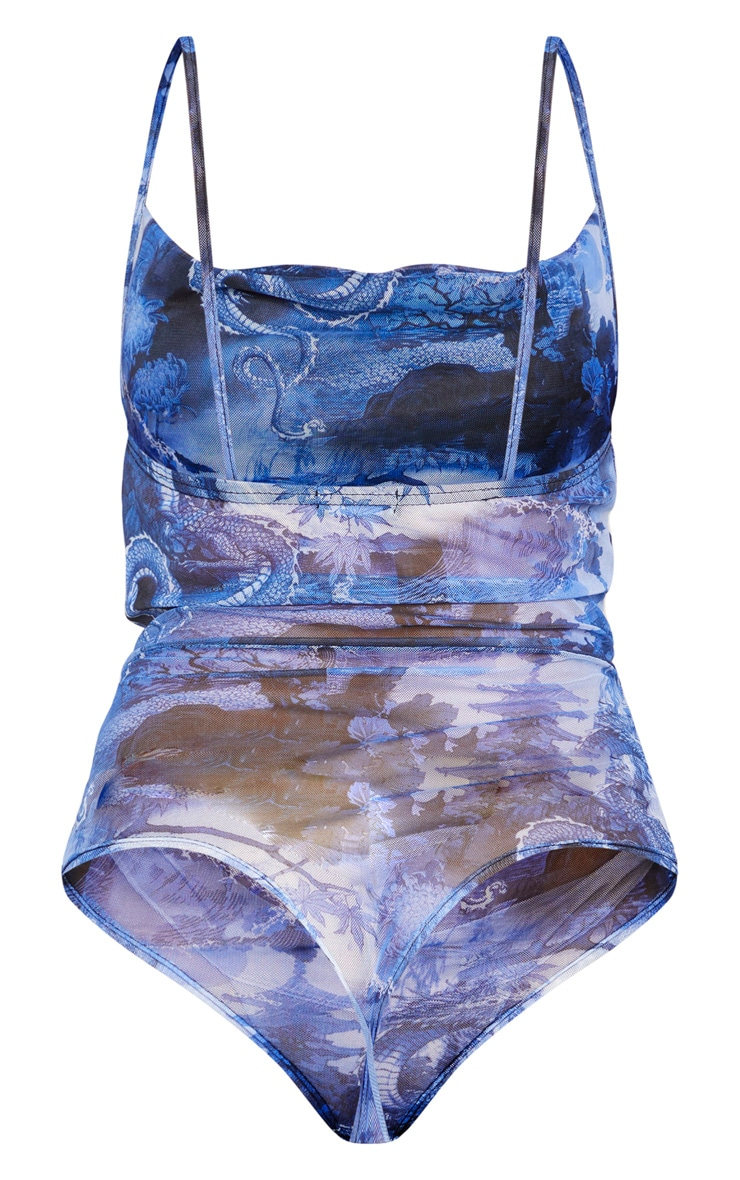 Blue Mesh Printed Ruched Bodysuit 2