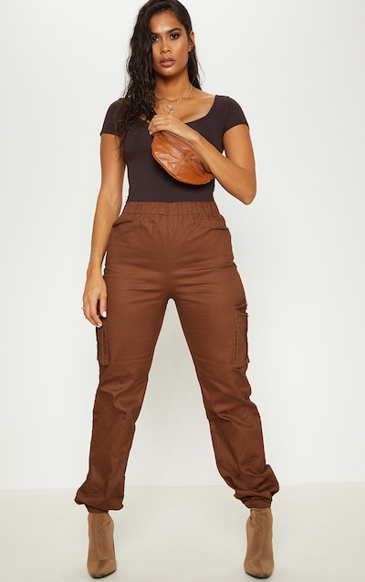 Chocolate Pocket Detail Cargo Trousers