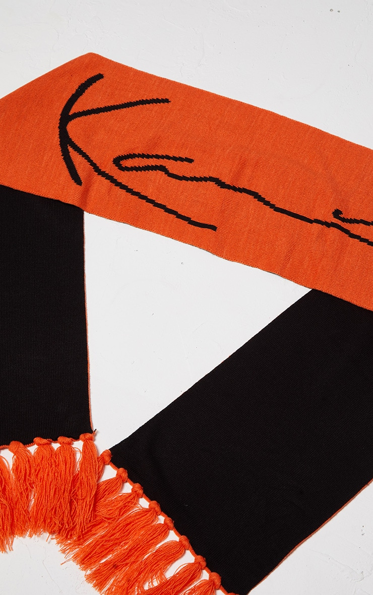 KARL KANI - Echarpe orange à franges 4