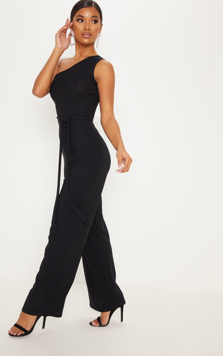 Black One Shoulder Tie Waist Jumpsuit 1