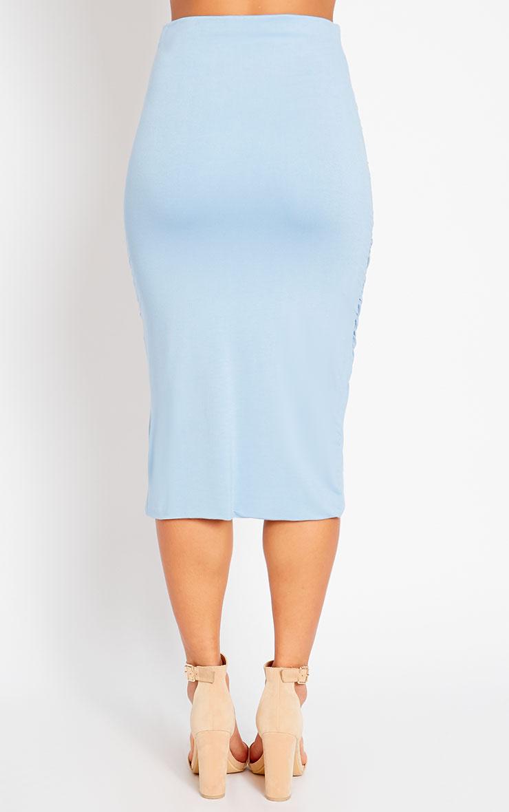Asia Powder Blue Jersey Ruched Midi Skirt 4
