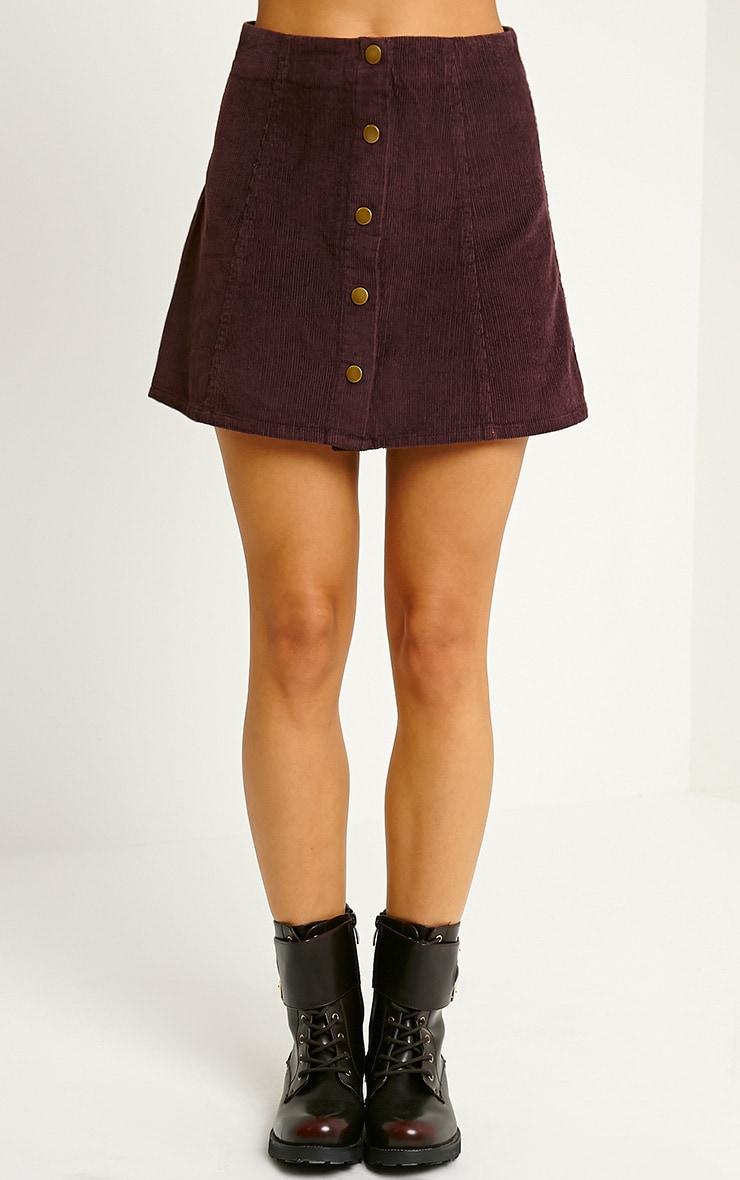 Turia Plum Cord Button Front Skirt 2