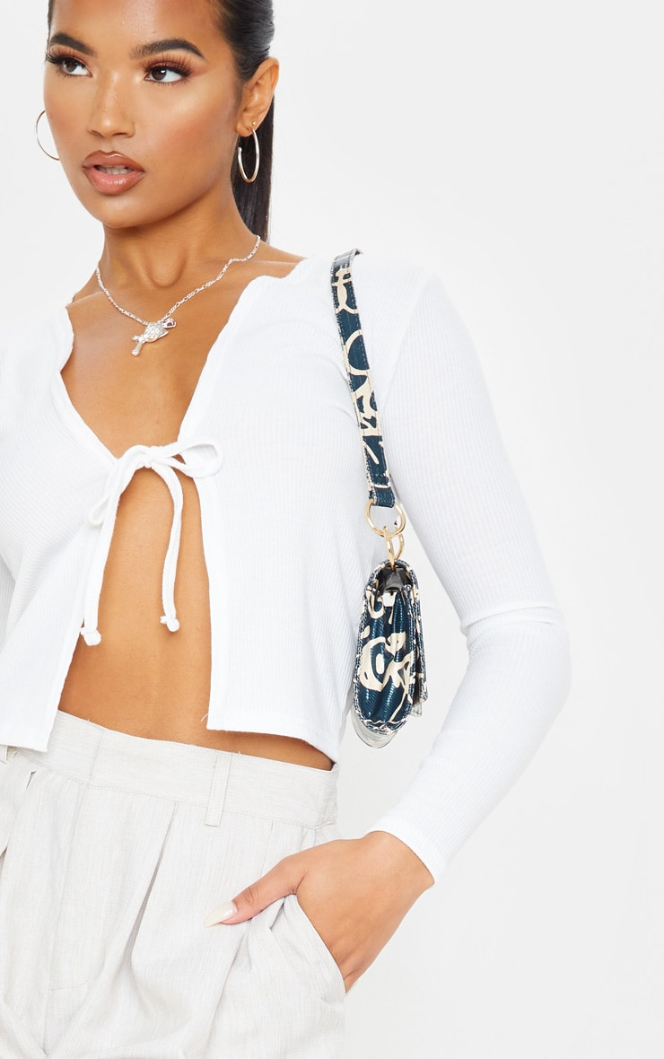 White Rib Tie Front Long Sleeve Crop Top 5