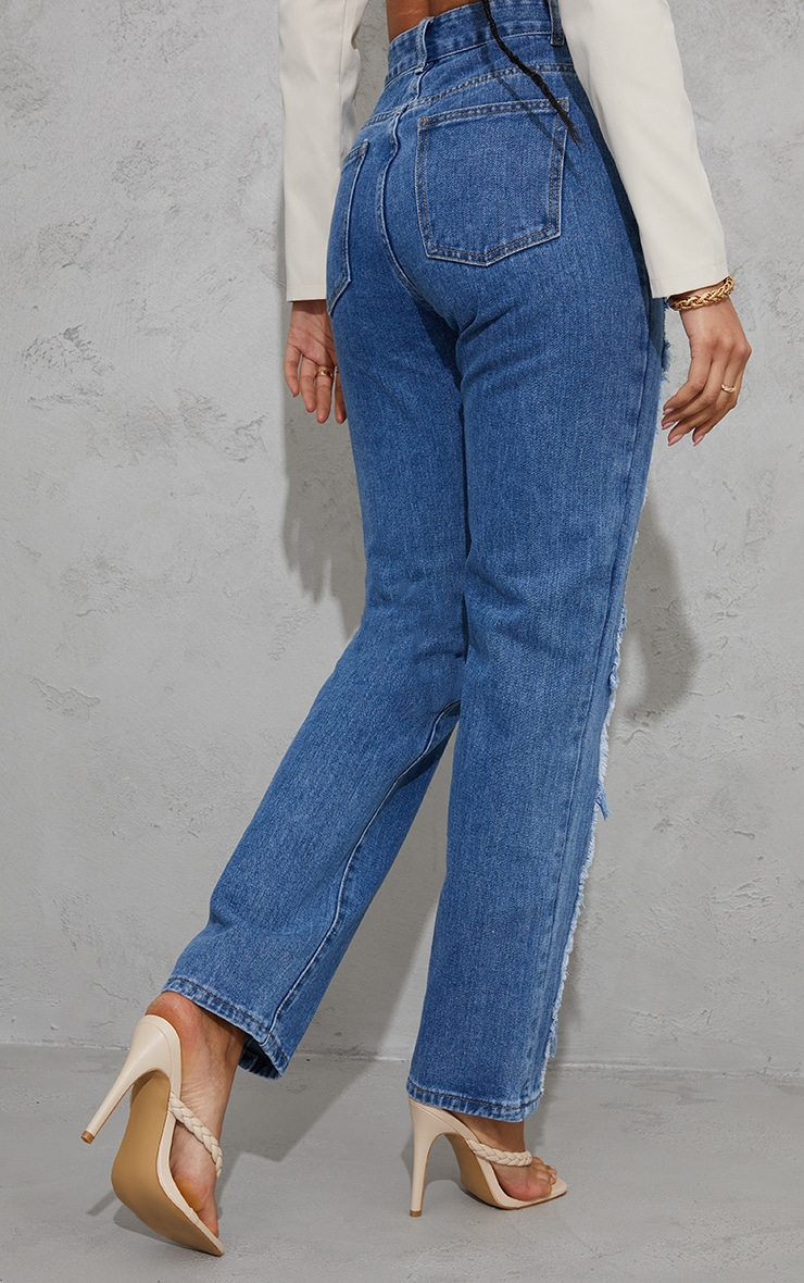 Mid Blue Wash Frayed Seam Front Long Leg Jeans 3