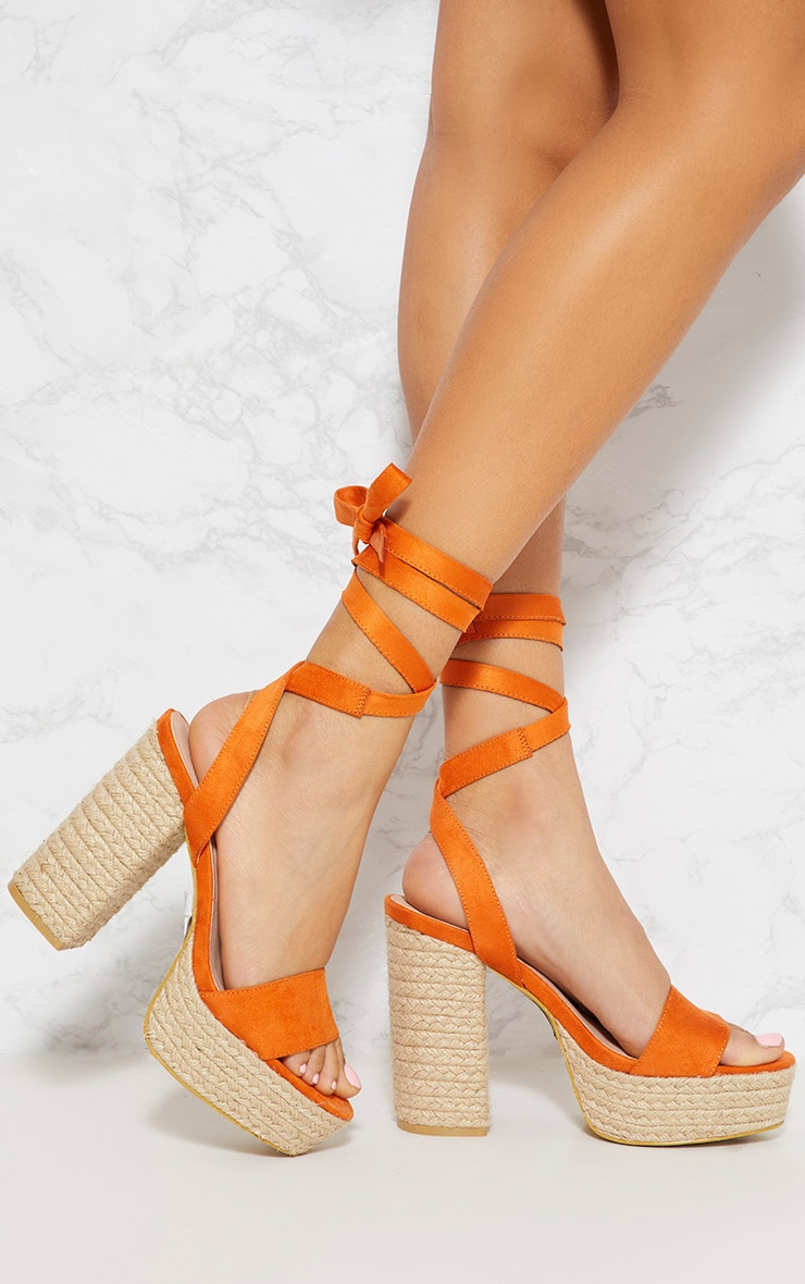 Orange Double Platform Espadrille Leg Tie Sandal  1