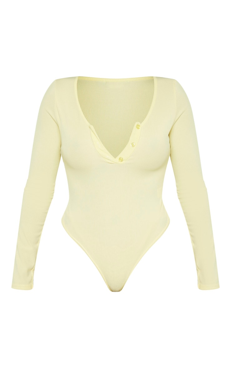 Shape Lemon Yellow Ribbed Long Sleeve Bodysuit 3
